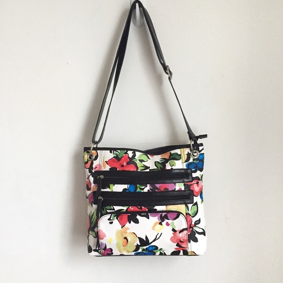 🛍•Bueno• Triple Zip Pocket Floral Bag